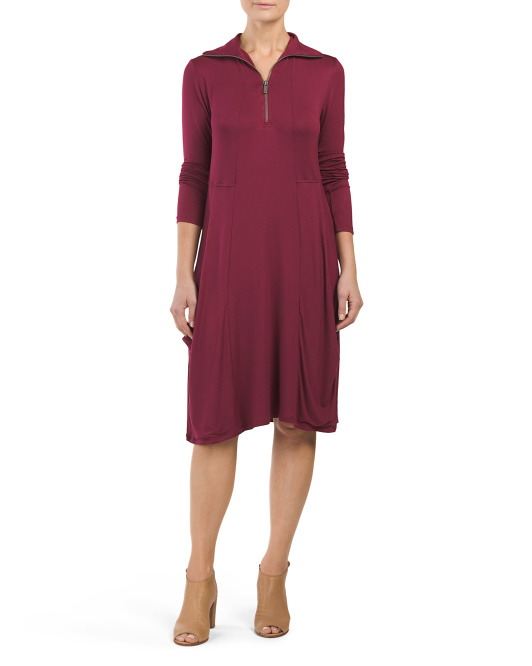 Half Zip Dress With Swingy Pockets