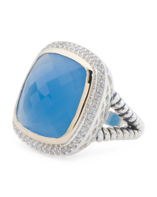 Sterling Silver And 14k Gold Blue Agate Ring