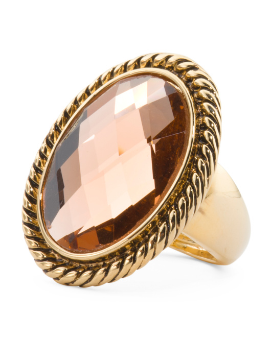 Oval Peach Crystal Rope Border Adjustable Ring