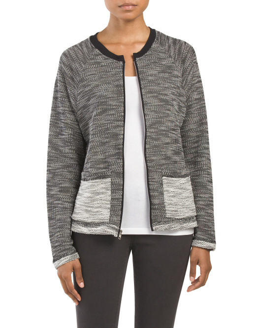 Made In USA Marled Pocket Sweatshirt Cardigan