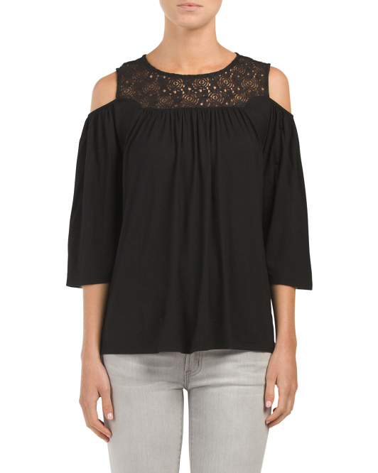 Made In USA Lace Yoke Cold Shoulder Top