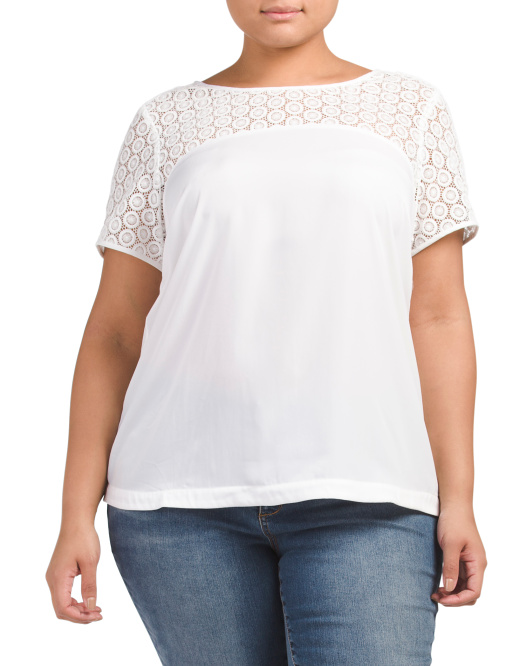 Plus Boat Neck Top With Lace