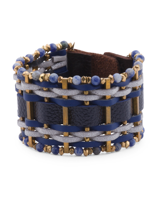 Agate Beaded Leather Bracelet With Gold Plated Brass Beads