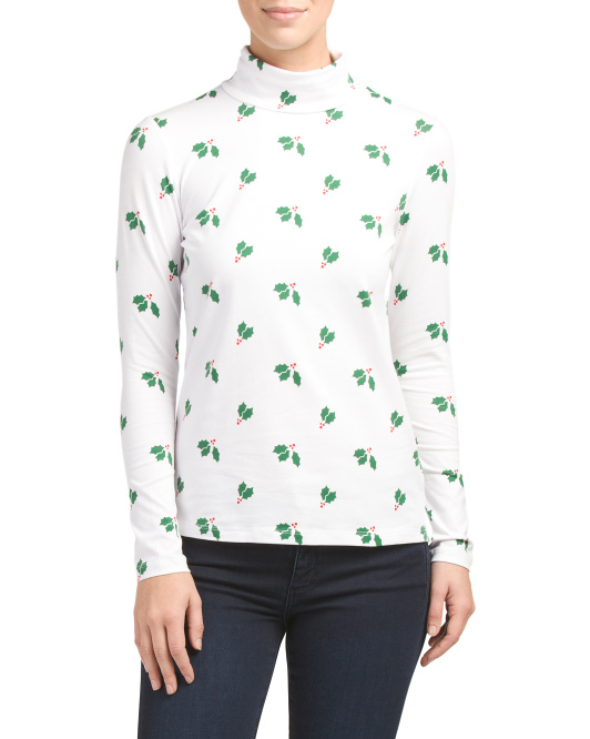 Holly Print Turtleneck Top
