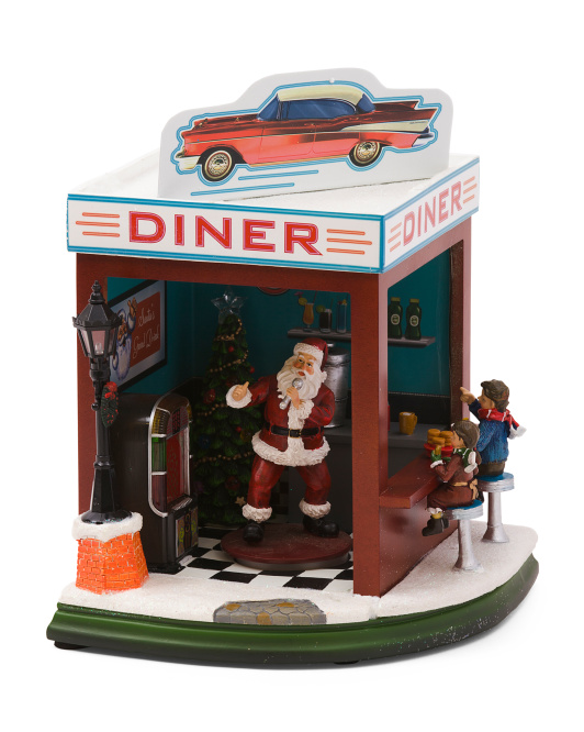 Led Animated Musical Santa Diner