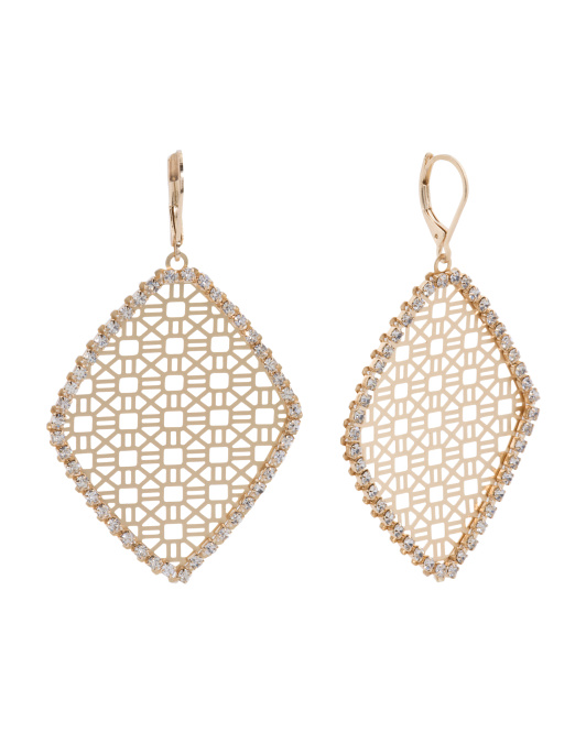 Crystal Border Etched Diamond Shape Drop Earrings