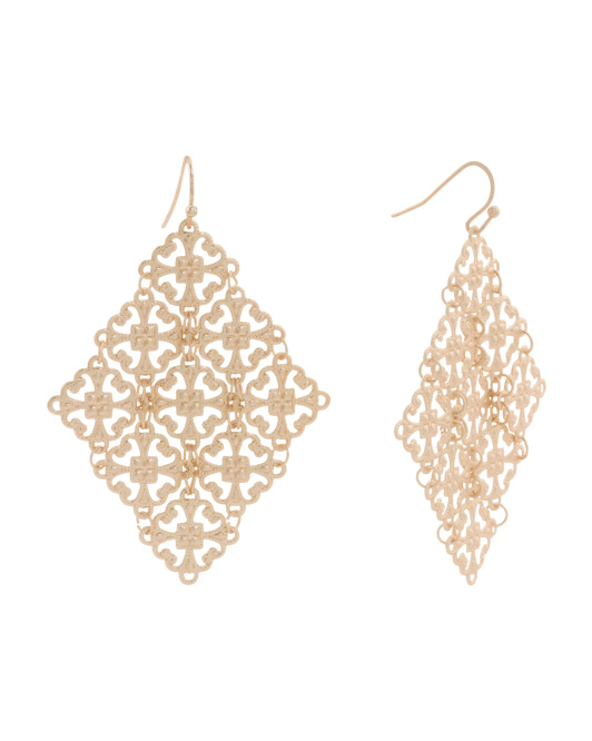 Filigree Kite Earrings In Matte Gold Tone