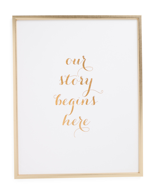 23x29 Our Story Begins Framed Canvas Art Print