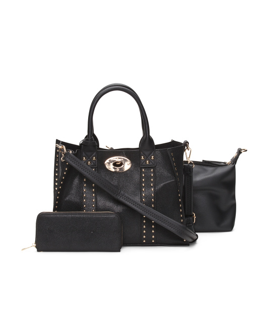 Studded Satchel With Pouch