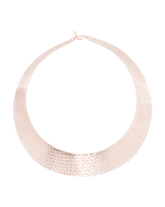 Made In Italy Rose Gold Plated Bronze Graduated Cleopatra Necklace