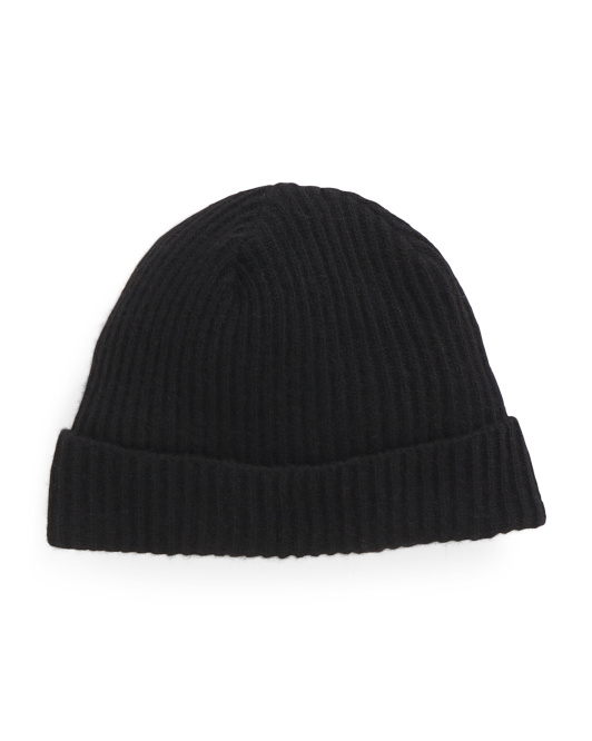 Ribbed Cuff Cashmere Hat