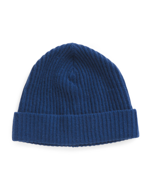Ribbed Cuffed Cashmere Hat