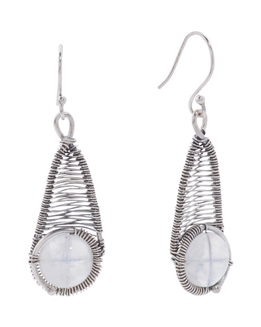Made In India Sterling Silver Rainbow Moonstone Earrings