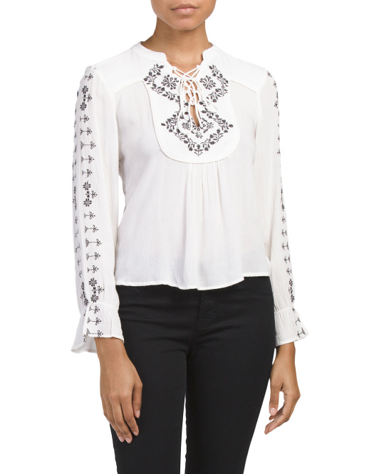 Glenda Embroidered Detail Top