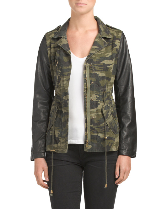 Juniors Faux Leather Sleeves Camo Anorak
