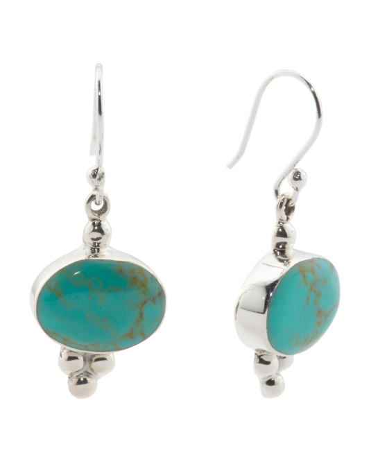 Made In Mexico Sterling Silver Turquoise Beaded Earrings