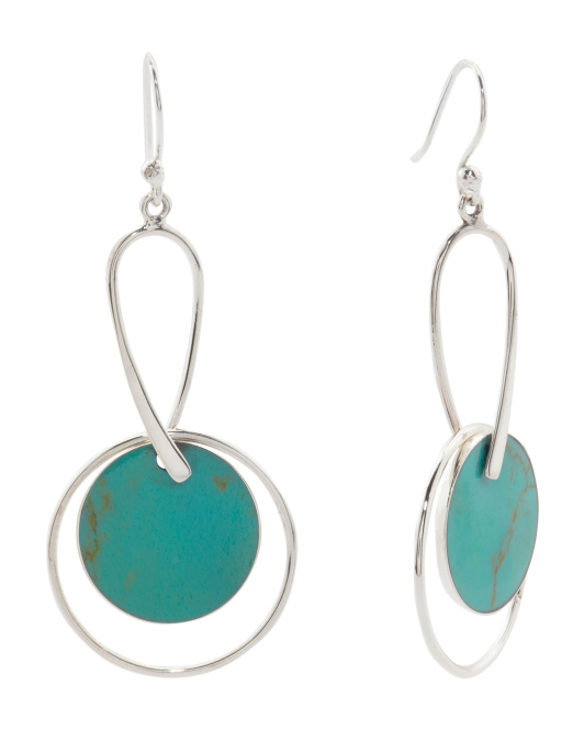 Made In Mexico Sterling Silver Turquoise Circle Earrings