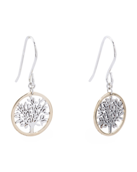 14k Gold And Sterling Silver Tree Of Life Dangle Earrings