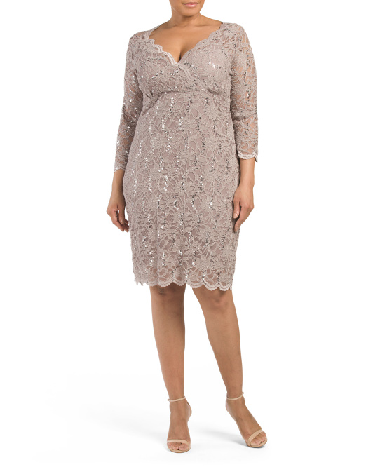 Plus Three Quarter Sleeve Lace Dress