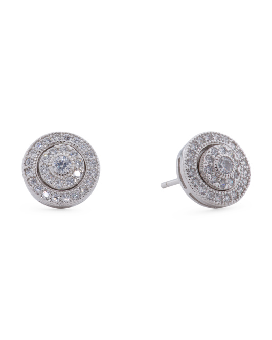 Sterling Silver Cubic Zirconia Round Step Stud Earrings
