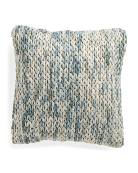 18x18 Made In India Knox Aqua Pillow