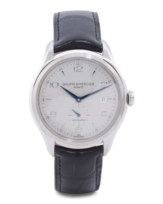Men's Swiss Made Clifton Stainless Steel Leather Strap Watch