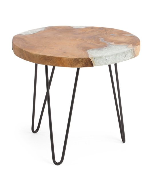 Organic Teakwood And Glass Side Table