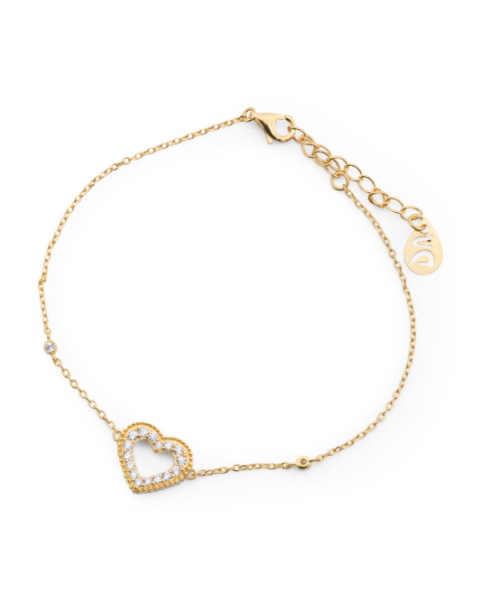 Made In Thailand Gold Plated Sterling Silver Open Heart Bracelet
