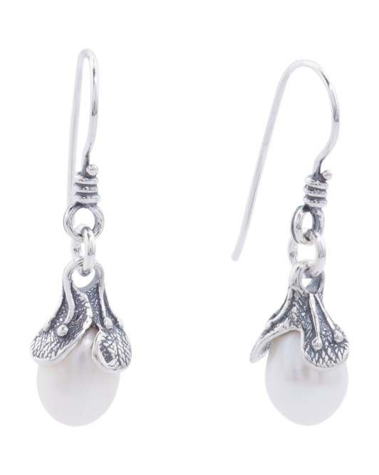 Made In Israel Sterling Silver Pearl Drop Flower Earrings