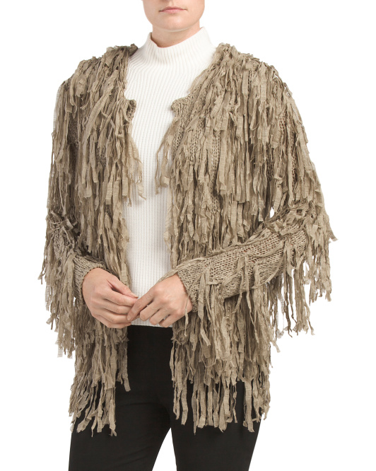 Short Fringed Cardigan