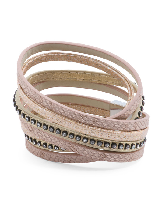 Made In Thailand Leather Rhinestone Wrap Bracelet
