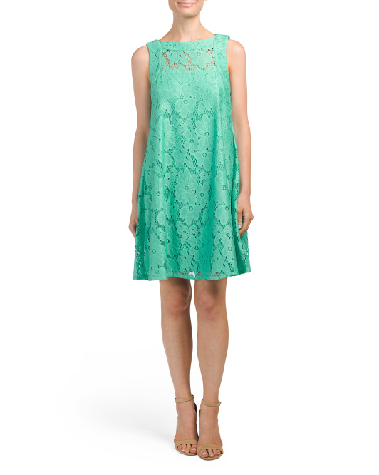 Sleeveless All Over Lace Tent Dress