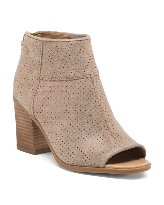 Perforated Suede Peep Toe Booties