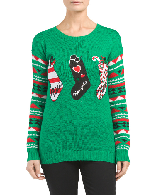 Juniors Christmas Pullover Sweater