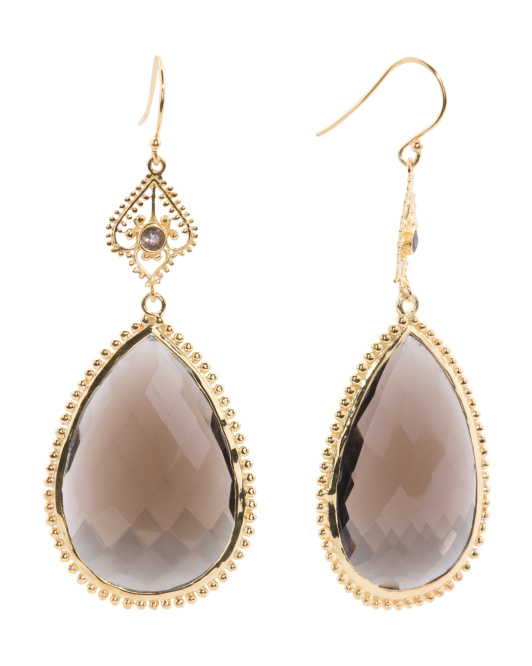Made In India Gold Plated Sterling Silver Stone Teardrop Earrings