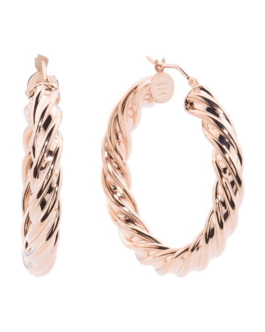 Made In Italy Rose Plate Twisted Round Hoop Earrings
