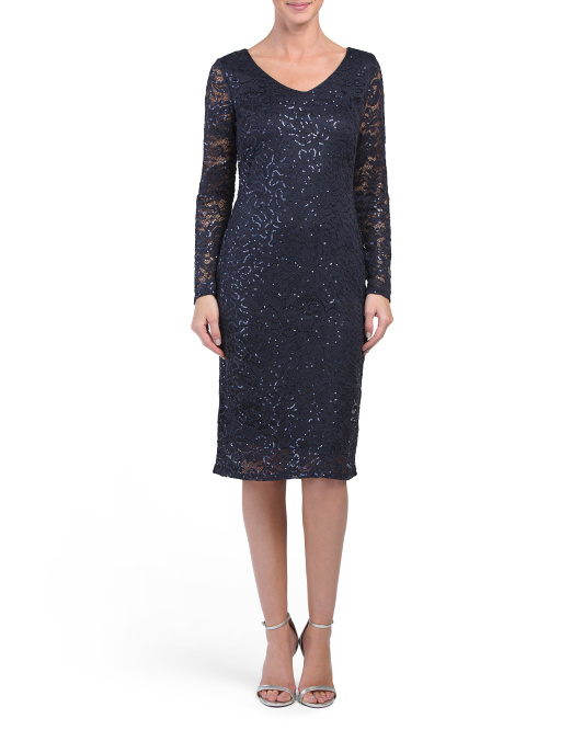 All Over Sequin Lace Dress