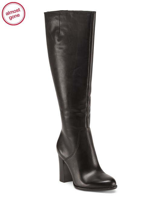 Chunk Heel High Shaft Leather Boots