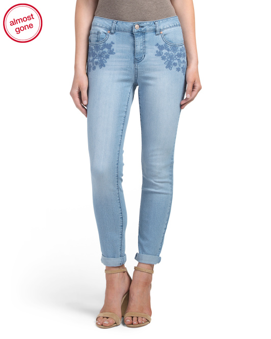 Front Embroidery Roll Cuff Jeans