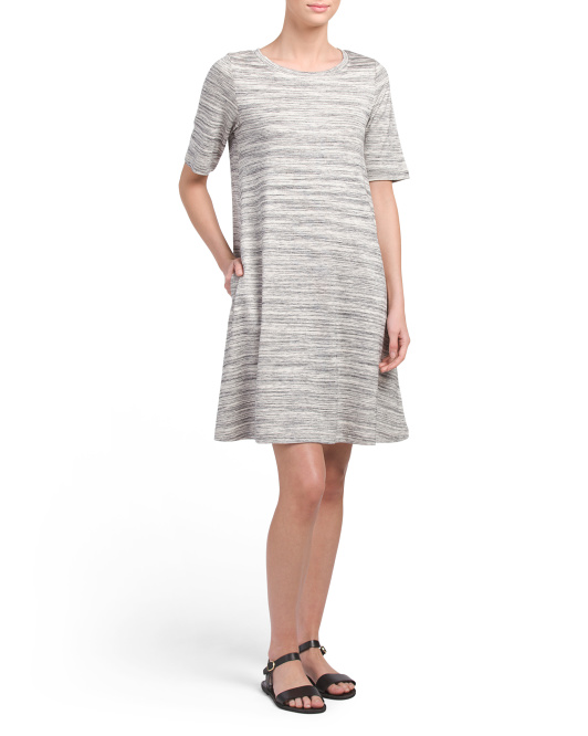 Elbow Sleeve Boat Neck A Line Dress