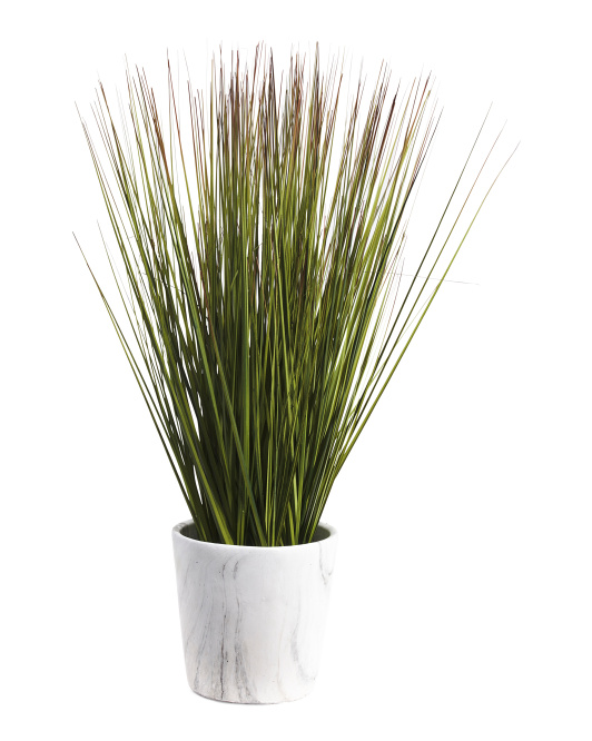 22in Faux Grass Plant In Marble Pot