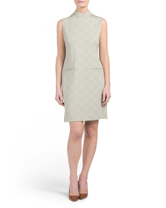 Mock Neck Windowpane Dress