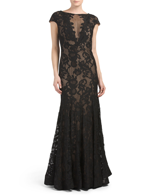 Cap Sleeve Illusion Lace Gown