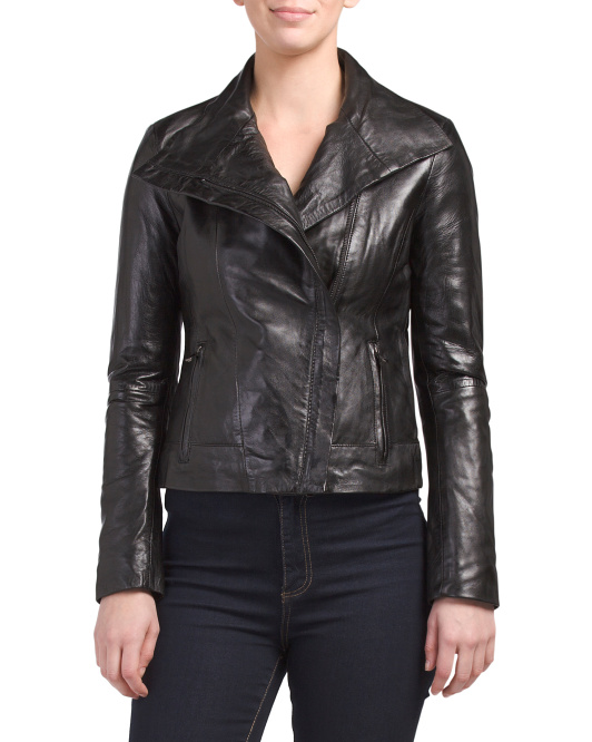 Leather Wing Collar Jacket