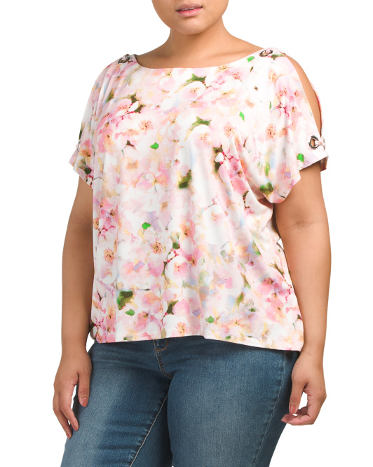 Plus Grommet Cold Shoulder Top