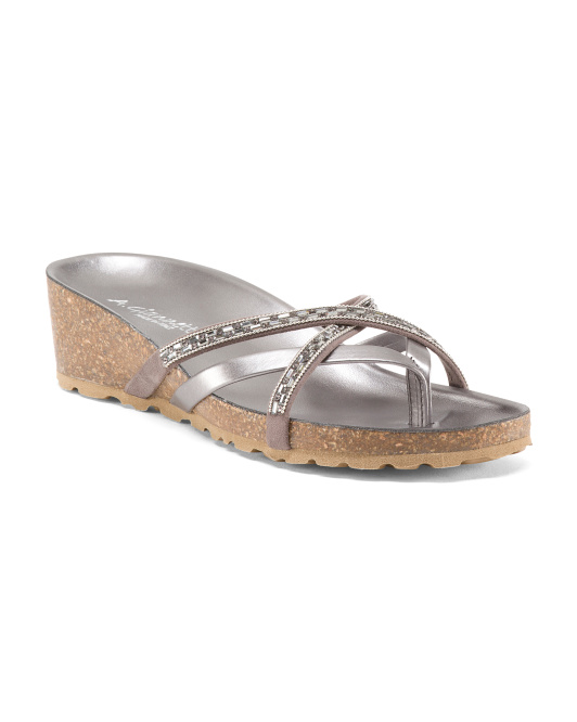 Made In Italy Cross Strap Thong Sandals
