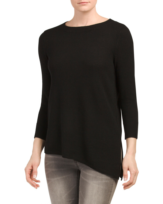 Cashmere Asymmetric Textured Sweater