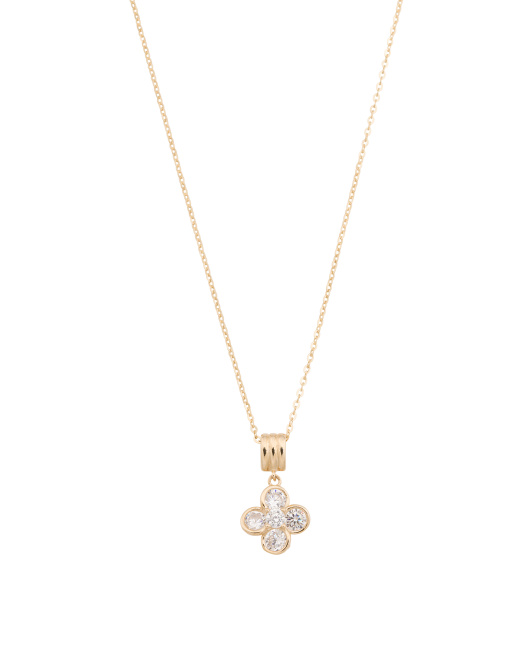 14k Gold Cubic Zirconia Clover Necklace