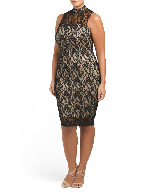 Plus Juniors Sleeveless Lace Dress