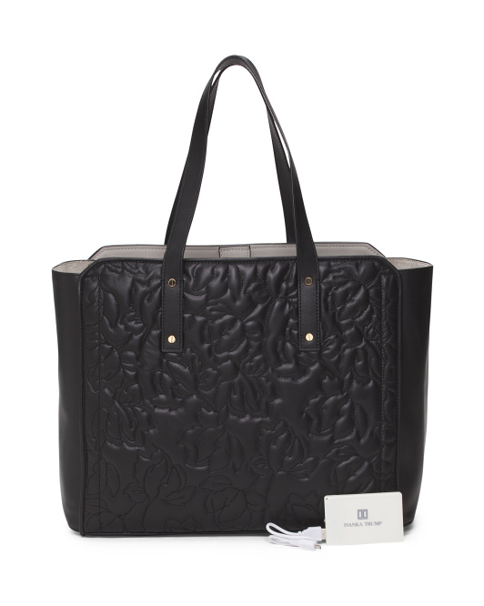 Soho Solutions Work Leather Tote With Charger
